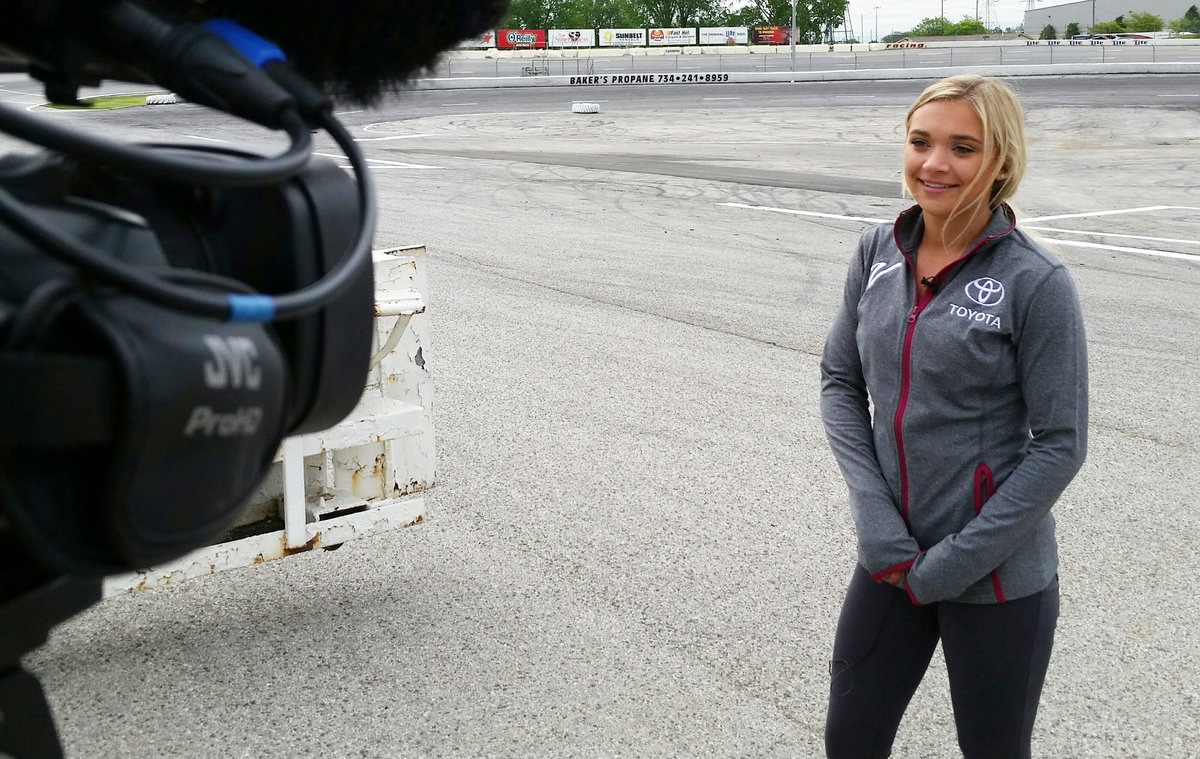"Natalie Decker on camera at Toledo; just one of the ""guys"" on raceday"