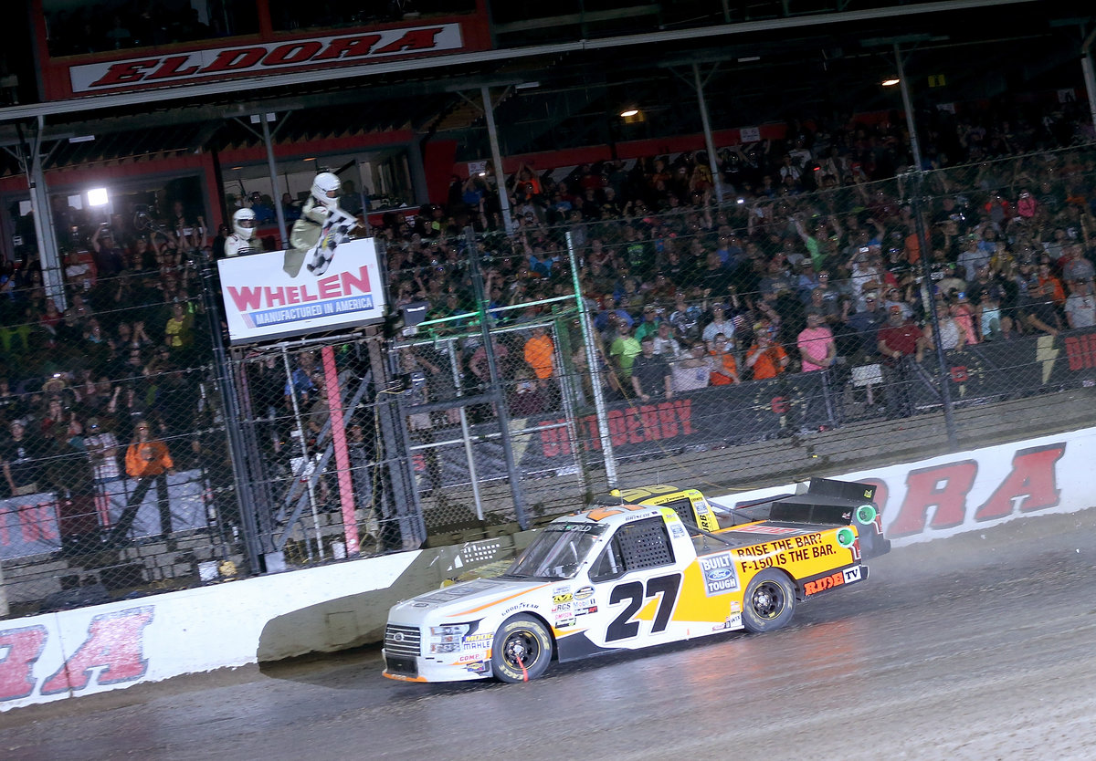 ARCA Champs Briscoe and Enfinger Duel in NASCAR Trucks Race at Eldora