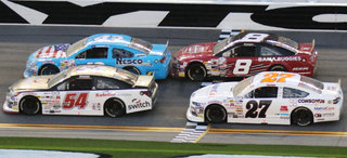 #8 toyota, #27 ford, #43 chevy, and #54 toyota