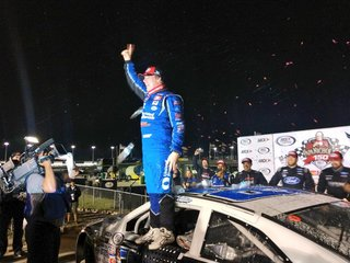 Sheldon Creed winner of the papa Nicholas 150 at gateway