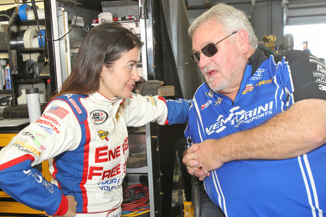 Leilani Munter talks with Bill Venturini at Daytona test 2014