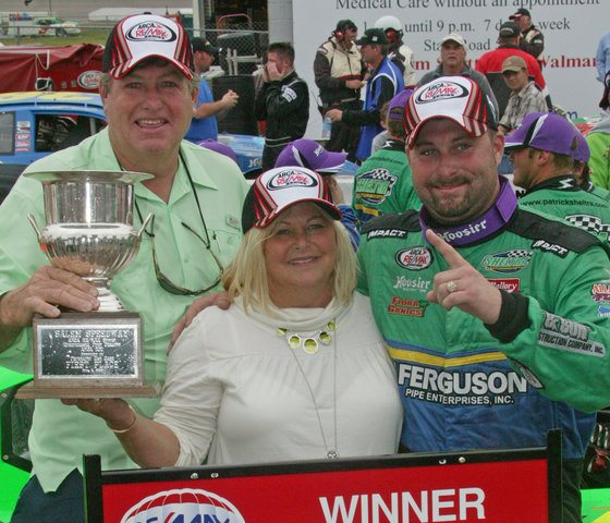 Patrick Sheltra in Victory Lane at Salem in 2009