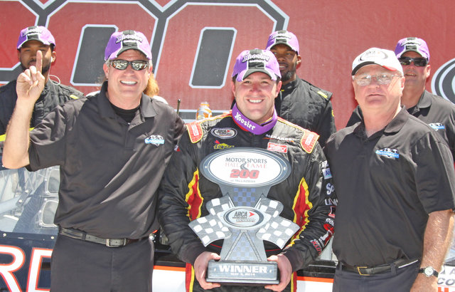 Tom Hessert with Paul Andrews and Kerry Scherer in Victory Lane at Talladega 2014