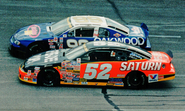 Bill Baird alongside Ken Schrader at Salem Speedway