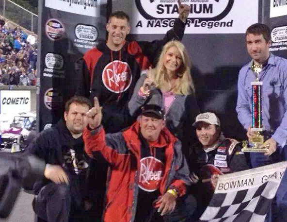 Cale Gale in Victory Lane at Bowman Gray Stadium