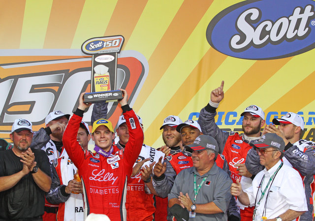 Ryan Reed, Carlos Lira, Jack Roush, Teddy Brown in Victory Lane at Chicagoland 2015