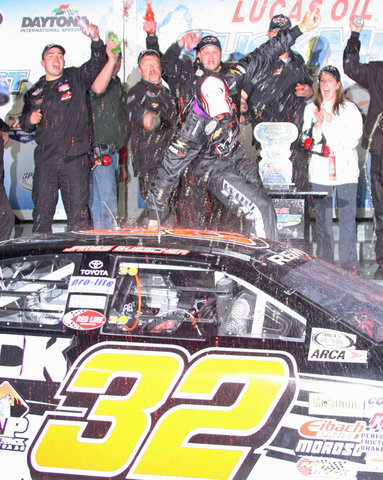 James Buescher in victory lane at Daytona in 2009