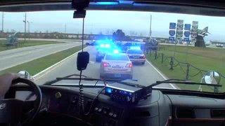Mobile Hauler Parade...Jim Dake at the controls of the ARCA hauler