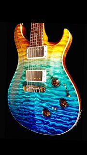 P24 Prs beach fade 2013 paua bird inlays mop outlined hondurous rosewood and buttons hrw private stock 3D quilted top