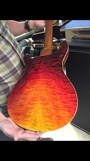 Special dragons breath Hollowbody II custom Swarovski crystal 20th anniversary bird inlays with saphire whisps the back quilted maple