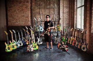 George Lynch with Scott Campbell's impressive collection of GL Signature ESP's