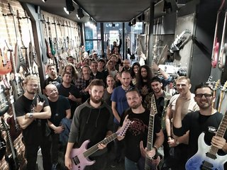 Nils Courbaron (Sirenia) guitar clinic at Metal Edge music store in France