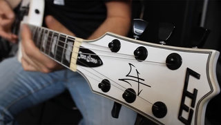 Jose Laney on his LTD James Hetfield Iron Cross