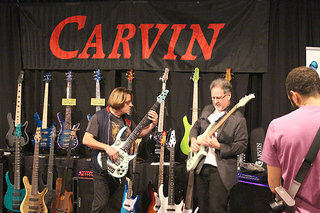 Bunny Brunel and Brian Bromberg at the Carvin Booth