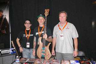 Jon Moody, Pete Hilton and Larry Hulsey at the GHS Booth (photo courtesy Dana Schwendner, Aguilar)