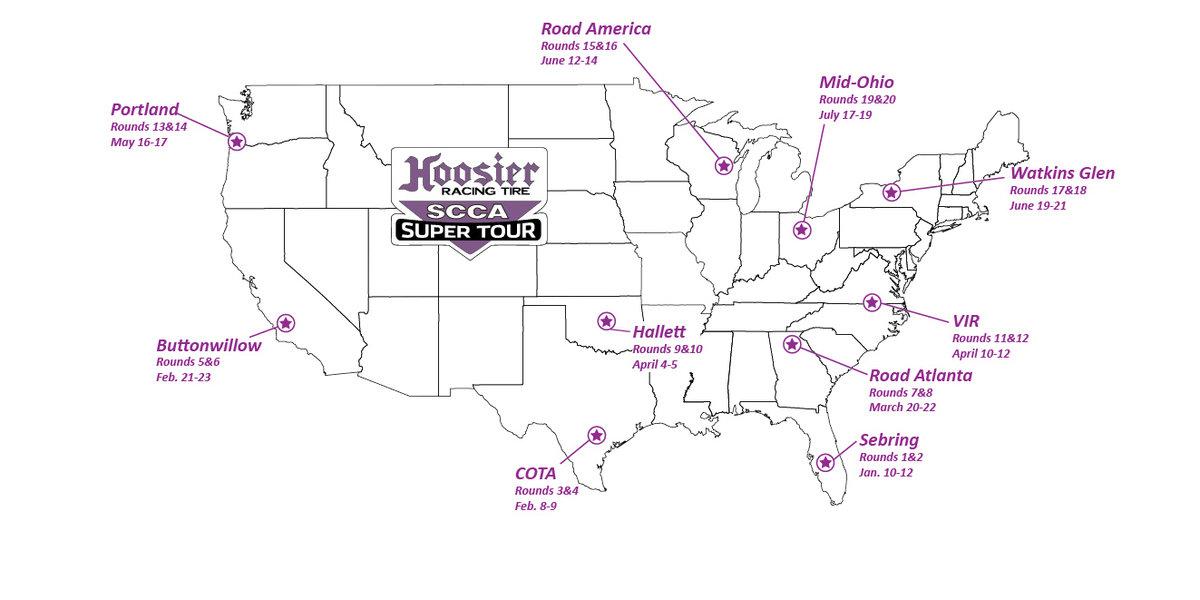 2020 Hoosier Racing Tire SCCA Super Tour Schedule Released