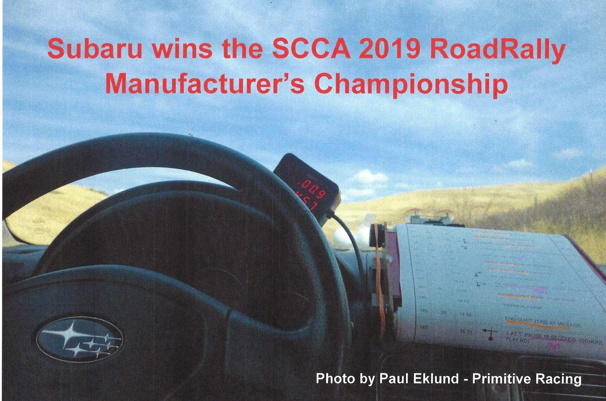 The 2019 RoadRally Manufacturer's Champion is Subaru.