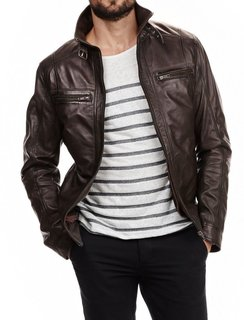 Style Lambskin Brown Leather Bomber Jacket