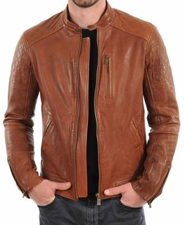 Tan Brown Leather Bomber Jacket